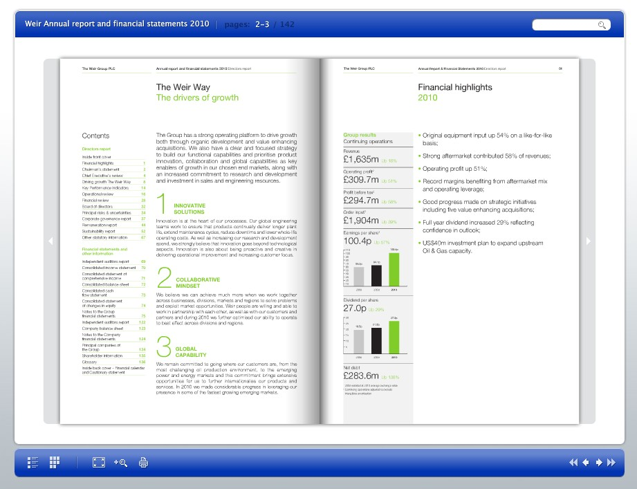 Weir Group 2010 turn-page solution - called online Annual Report?