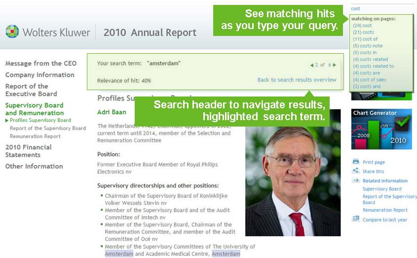 Search tool at Wolters Kluwer Annual Report 2010