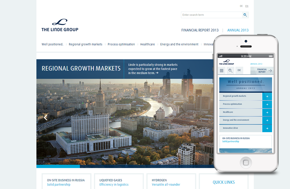 Linde Annual and Financial Report 2013, desktop and mobile version
