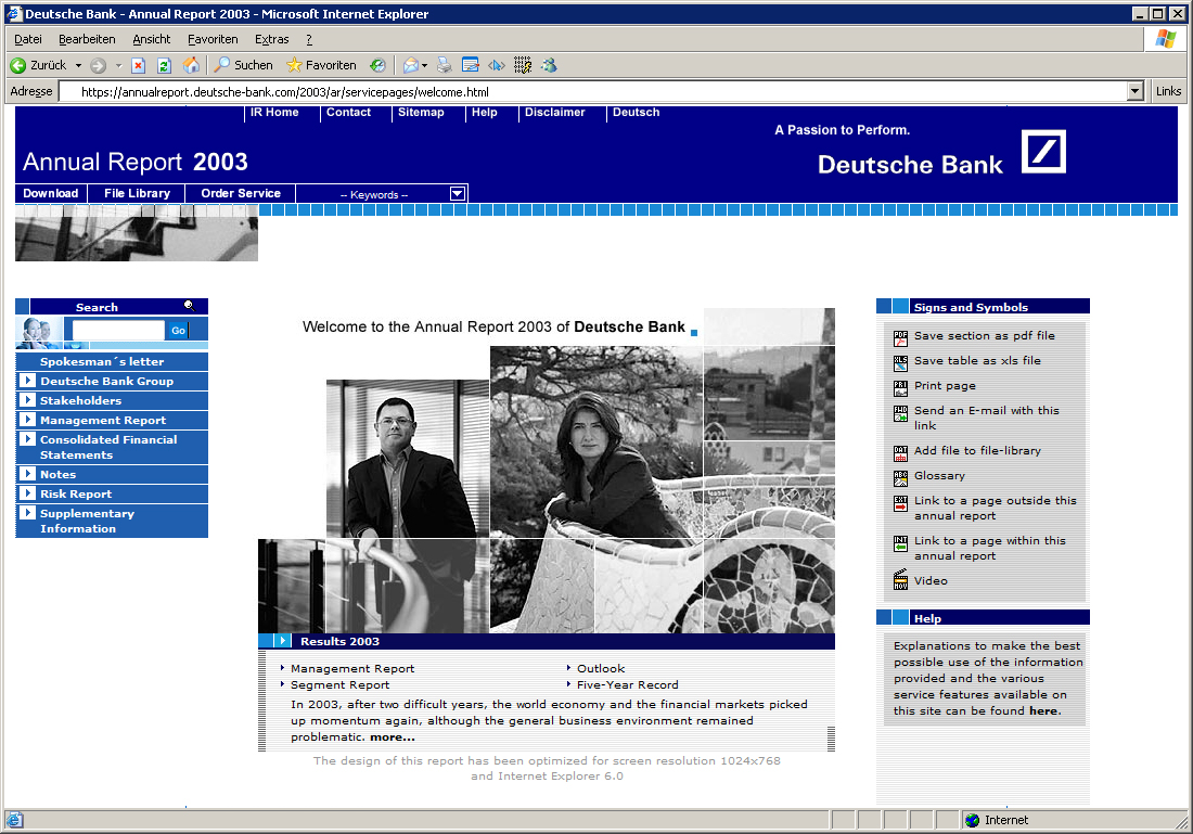 Deutsche Bank - Online Annual Report 2003