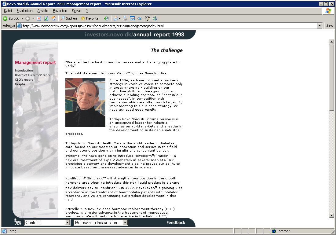 Novo Nordisk - Online Annual Report 1998