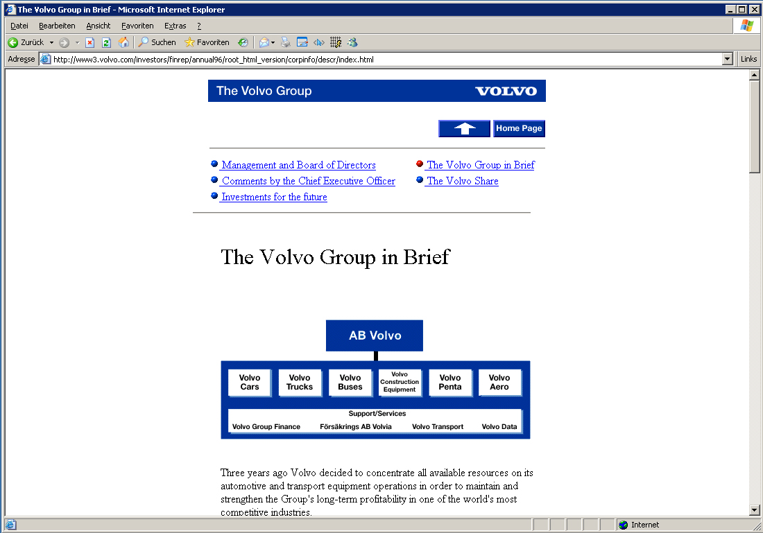 Volvo - Online Annual Report 1996