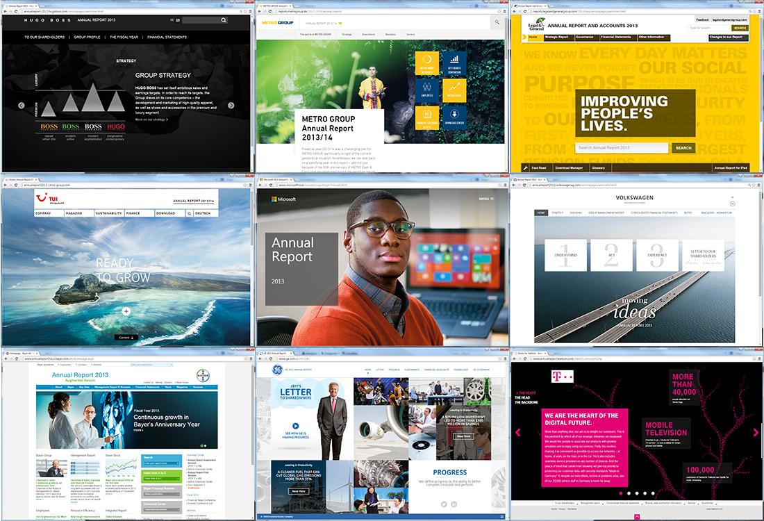 Startseiten von Online-Berichten