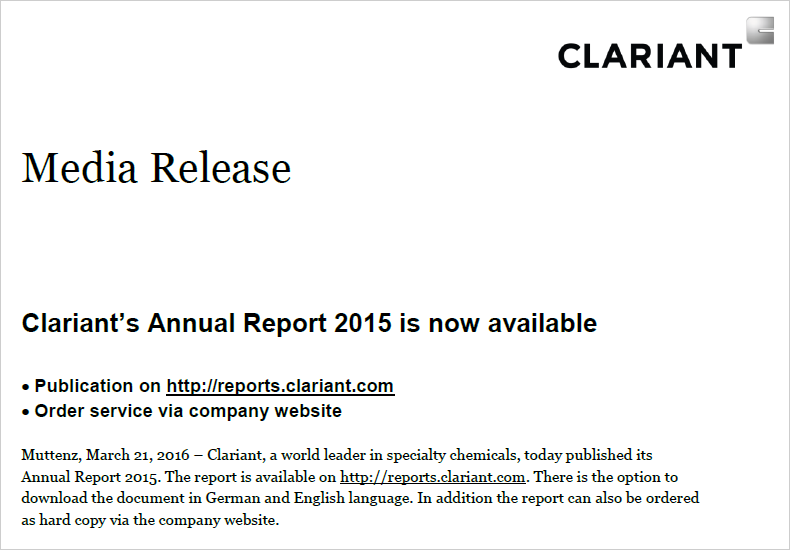 Clariant Onlina Annual Report 2015