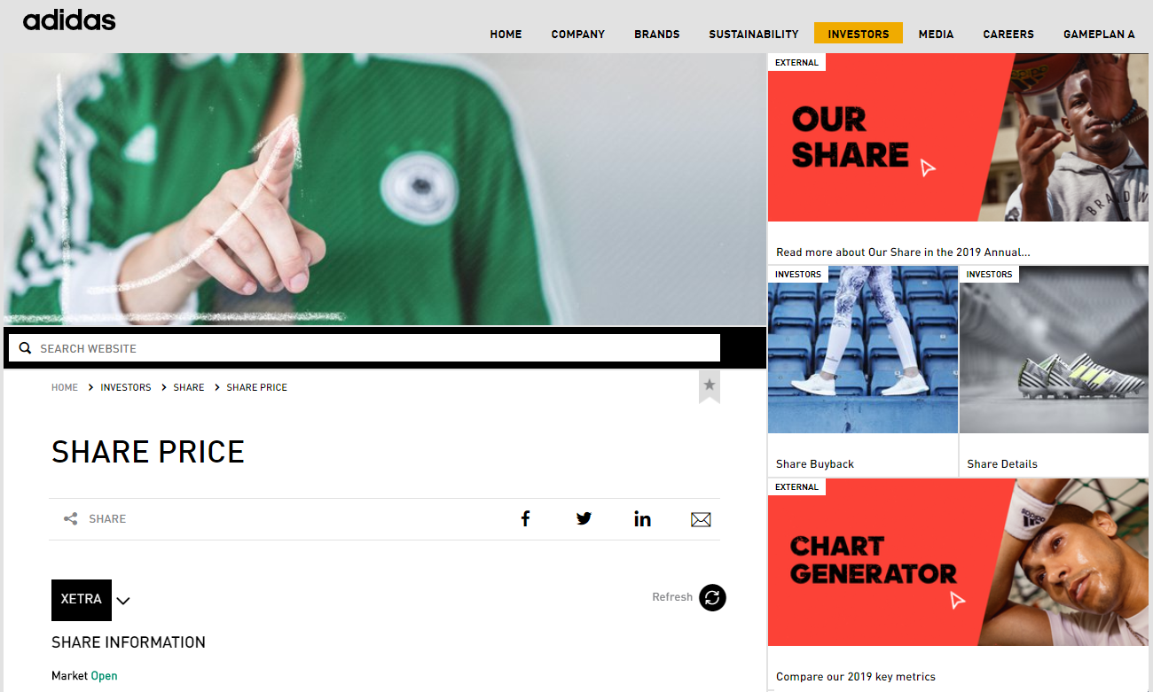 adidas corporate website annual report