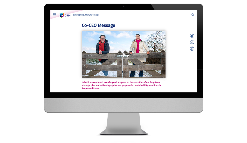 DSM, Co-CEO message, online Annual Report 2020